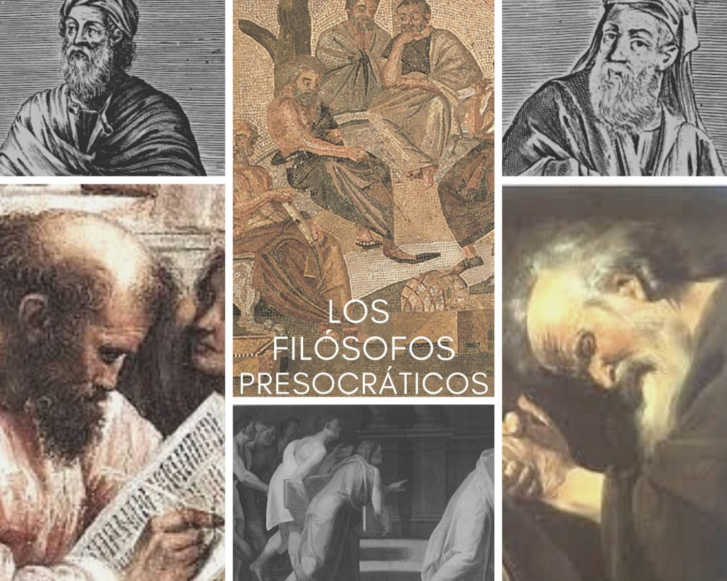 filósofos presocráticos collage juntos